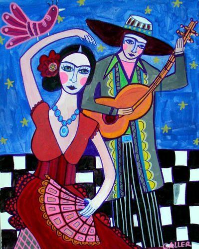 Mexican Folk Art Print Poster Flamenco Dancer Guitar