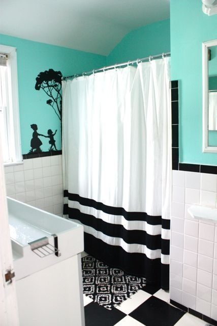turquoise black and white love and design bathroom on on show me beautiful wall color id=39463