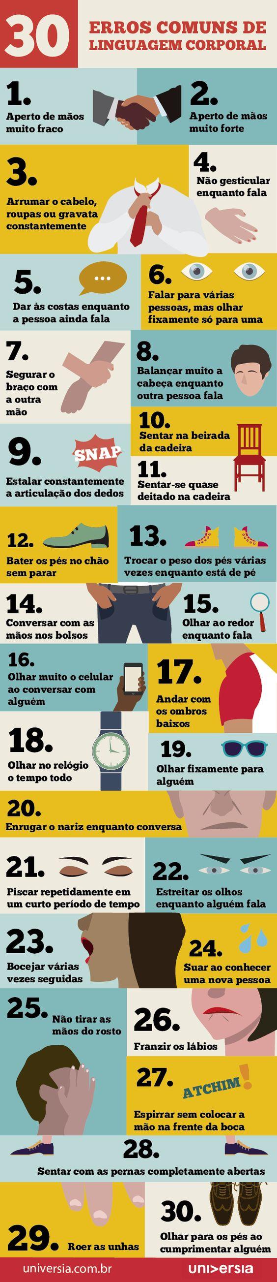 Infográfico: os 30 erros comuns de linguagem corporal: