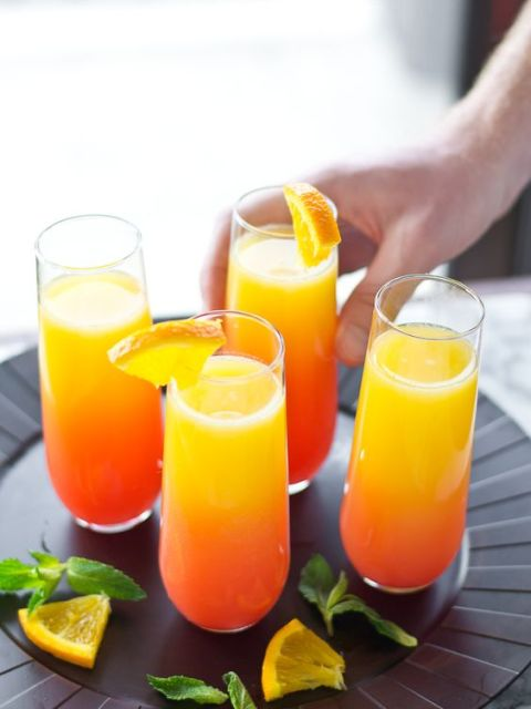 Tequila Sunrise Mimosa - easy way to jazz up Easter brunch! #tequila #sunrise #mimosas: