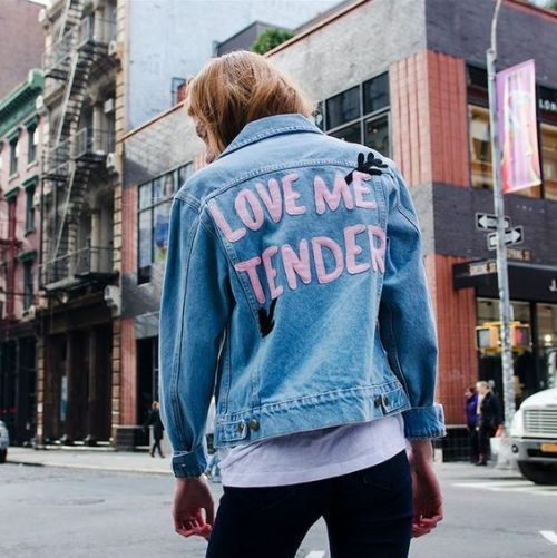 "Love me tender. Love me sweet. Rock this cute denim jacket with our Boo You Whore Sunglasses! - 100% Cotton - 43cm/17"" Chest, 57cm/22.4"" Length (Size Small) - Color may vary slightly from the image -:"