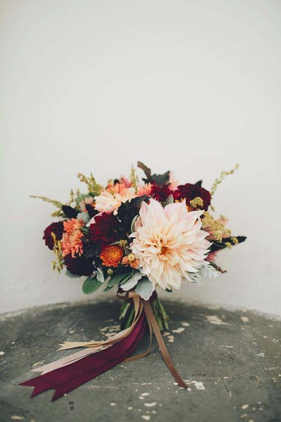November Wedding Bouquet Bridal Bouquets Fall Flowers Arrangements, burgundy, peach, orange, dahlias: