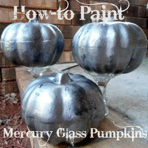 how to paint faux mercury glass pumpkins  The Ultimate Pinterest Party, Week 116: