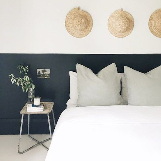 bedroom with black and white walls via sfgirlbybay | love the straw hats hanging above the bed | pale green/mint cushions off sets the crisp white bedlinen:
