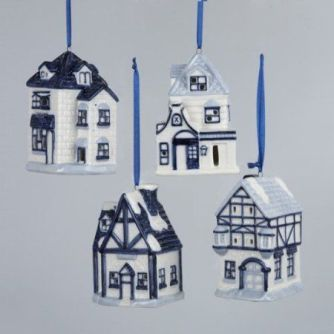 "Amazon.com - 3"" PORCELAIN DELFT BLUE HOUSE ORNAMENT W/LED LIGHT & LED HANG TAG:"