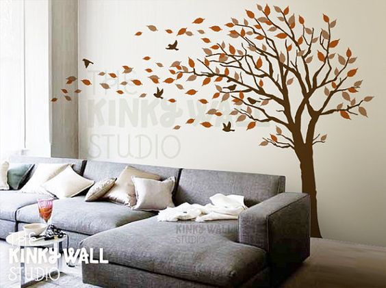 blowing tree wall decal bedroom wall decals wall sticker on wall stickers for bedroom id=36962