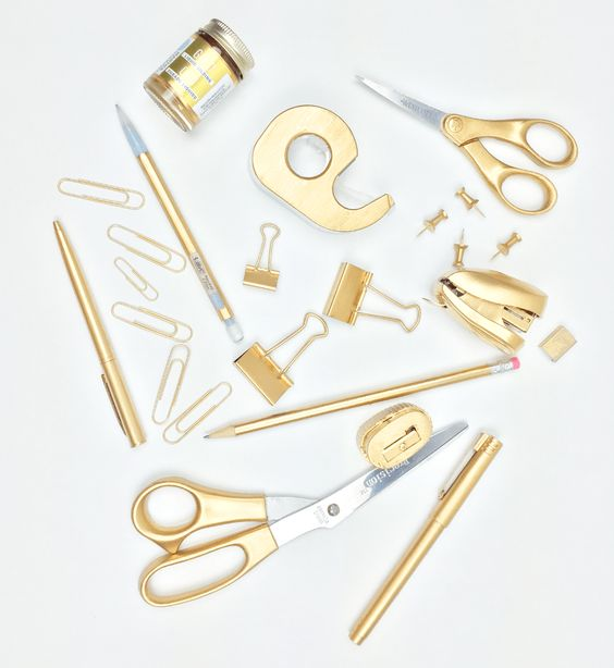 DIY gold office supplies without spray painting More