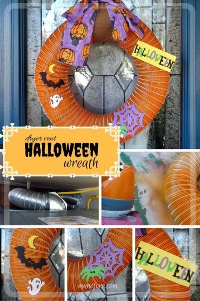 From trash to treasure - an old dryer vent becomes a festive Halloween wreath. Halloween craft, dryer vent pumpkin, easy Halloween decoration.: