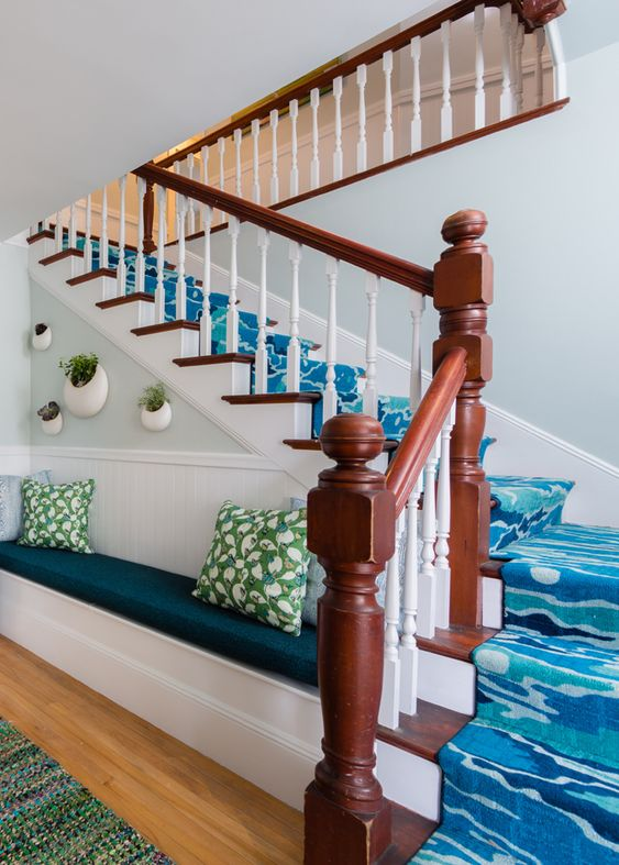 Colorful staircase with built-in bench. House of Turquoise: Whitehall - Camden, Maine | Rachel Reider Interiors: