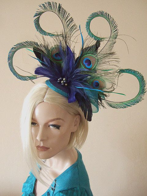 Curled Peacock Fascinator Hatinator Feathers Cluster
