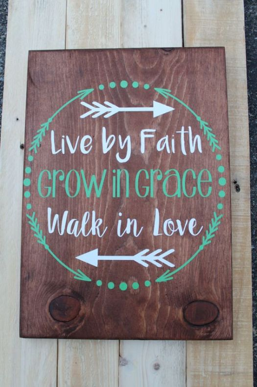 Live By Faith Wood Sign Home Decor Hand Painted Sweetmonkeyboutique