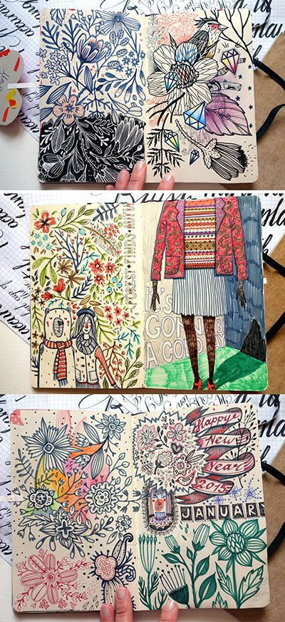 Artist: Anna Aniskina (sketchbook pages - part 3 on Behance) Inspiration: Dense line work with color:
