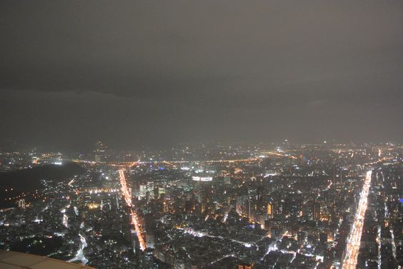 The night view of Taipei seen from the outdoor observatory of Taipei 101