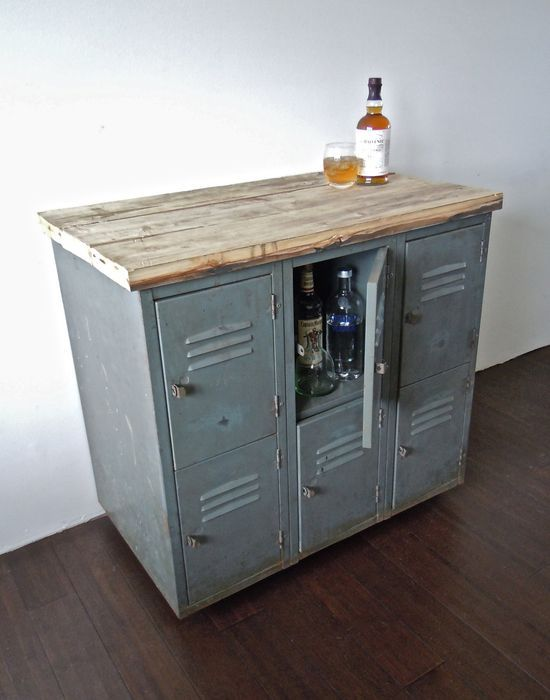vintage metal lockers with reclaimed wood top on casters // industrial bar storage cabinet // kitchen island.: