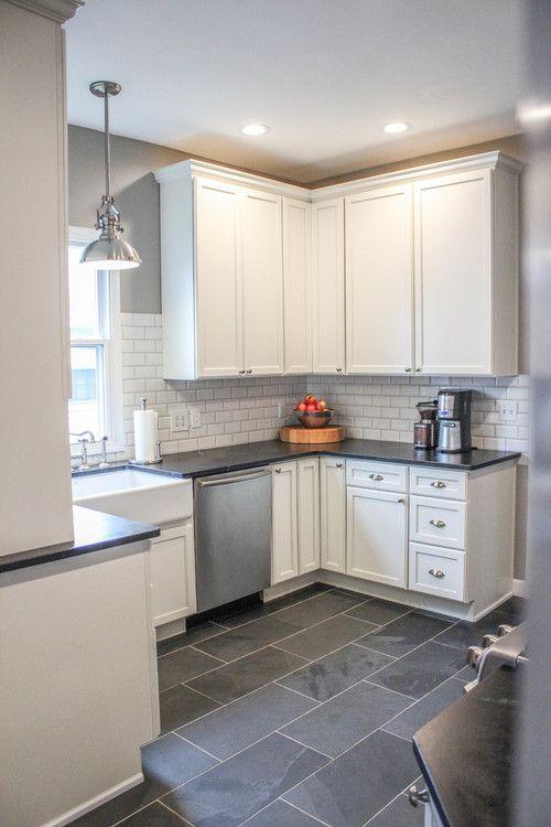 modern farmhouse kitchen gray tile floors white cabinets kitchens pinterest modern on farmhouse kitchen grey cabinets id=42701