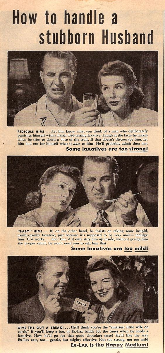 Old vintage ad for laxatives which mocks stubborn husbands.
