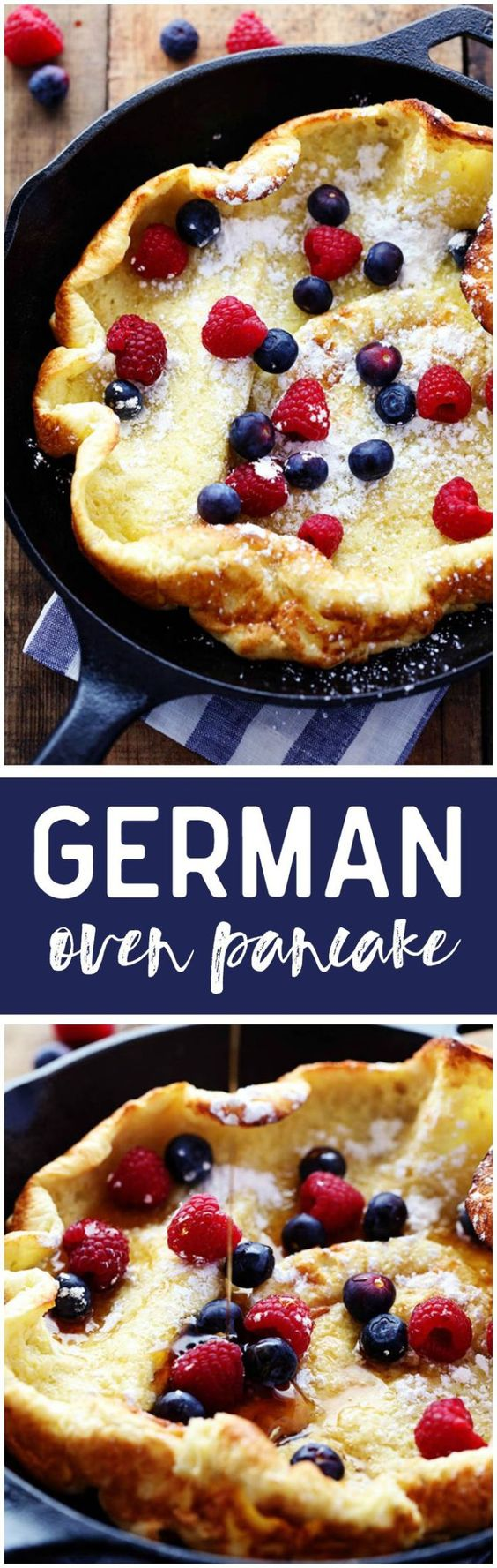 German Oven Pancake Recipe via The Recipe Critic - A hot and puffy golden pancake that only requires 5 minutes of prep! This classic breakfast is always a huge hit at our house!