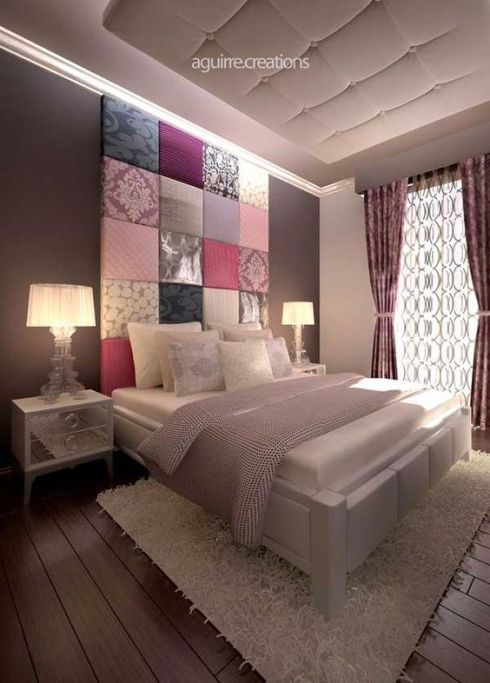 40 Unbelievably Inspiring Bedroom Design Ideas...LOVE the headboard in this pic and the colors are gorgeous :):