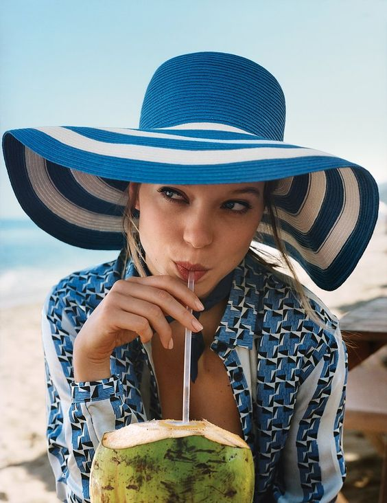 lea seydoux vogue hats summer fashion: