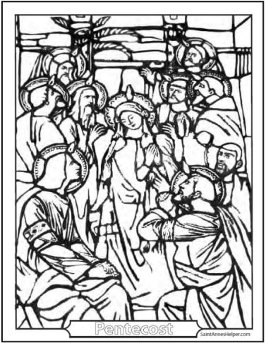 These Pentecost coloring pages show the Holy Ghost as a dove descending on Mary and the Apostles with tongues of fire.: