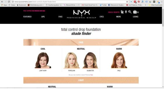 NYX Total Control Drop Foundation shade finder button