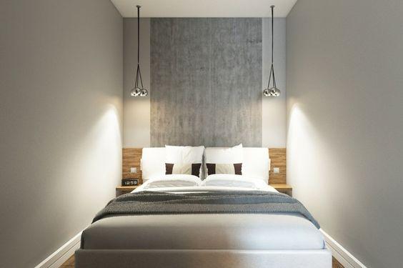 dormitorio pequeño con cabecero color gris: