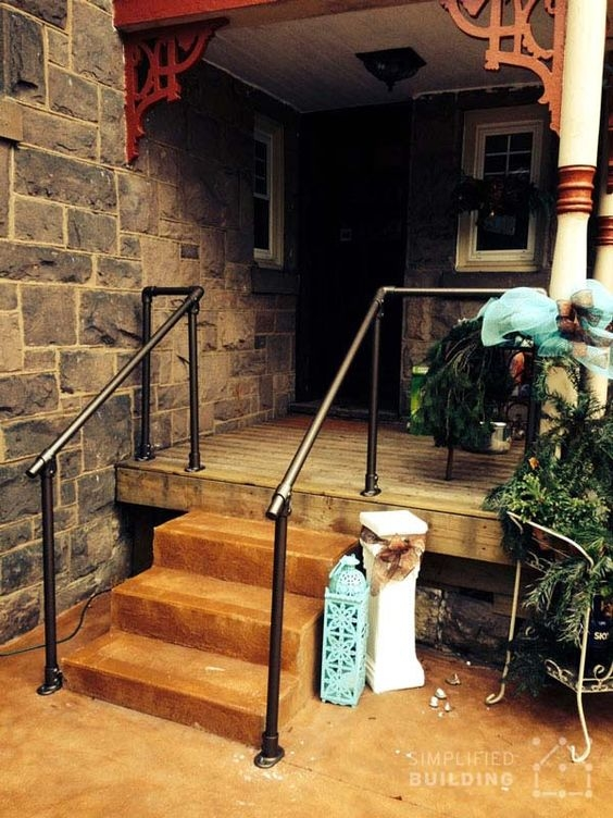 Front Steps Deck Railing Pipe Railing Pinterest Deck | Gas Pipe Stair Railing