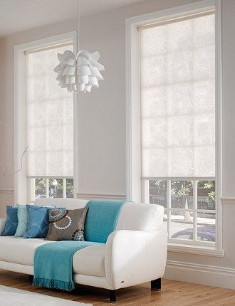 modern roller shades in calming white