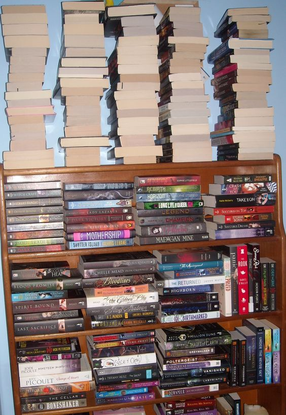 Just some of the 380+ unread books on my shelves (and multiple stacks on the floor).