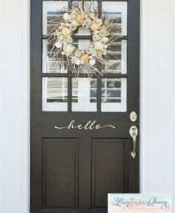 Hello Front Door Decal Script Lettering by LeenTheGraphicsQueen: