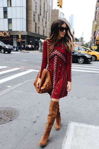 Mini Dress & Over The Knee Boots: