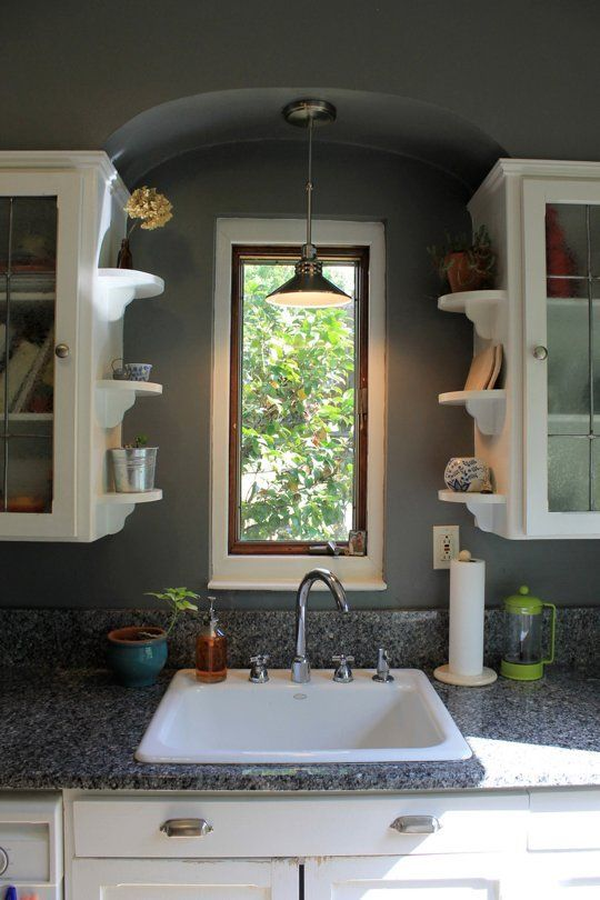 9 ways to make existing storage cabinets more space efficient open shelving cabinets and love the on kitchen cabinets around window id=75789