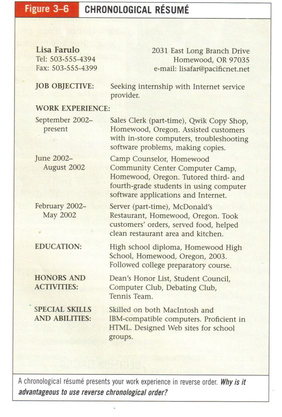 Resume examples Resume and Chronological resume template