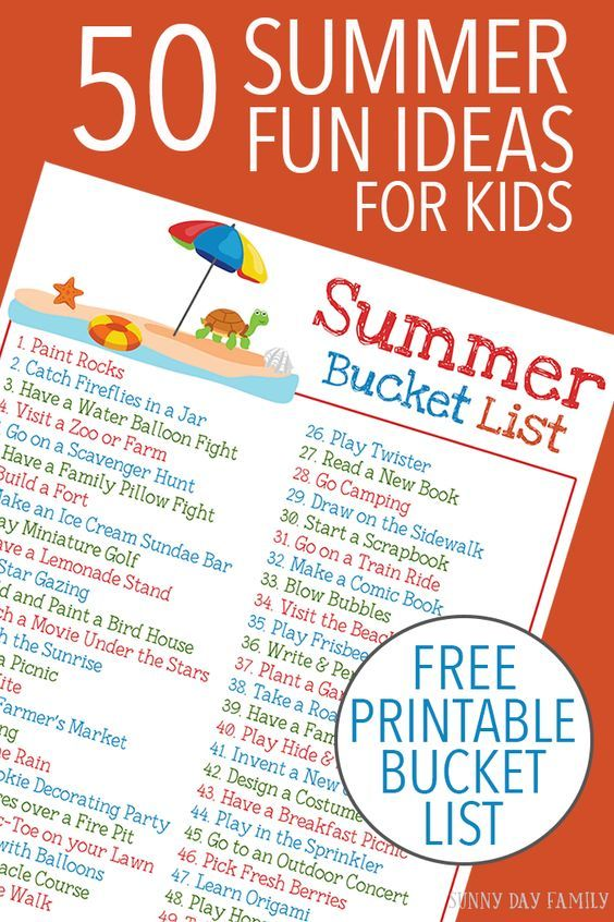 50 easy and fun summer activities for kids plus a FREE printable Summer Bucket List via Sunny Day Family - Keep the kids entertained all summer long with this classic list of summer activities. Love these ideas for family fun!