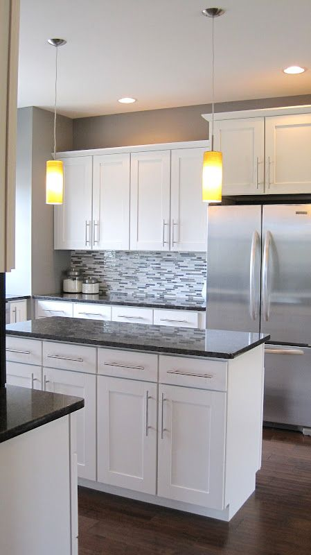 white kitchen cabinets grey countertops and white kitchens on pinterest on kitchen cabinets grey and white id=99251