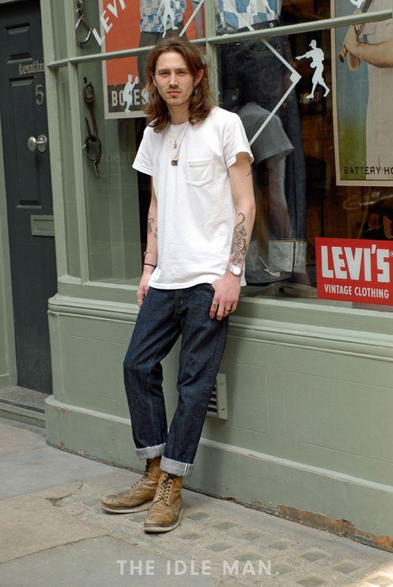 白のポケットTシャツ&ルーズリジッドデニムの王道アメカジがカッコよすぎる