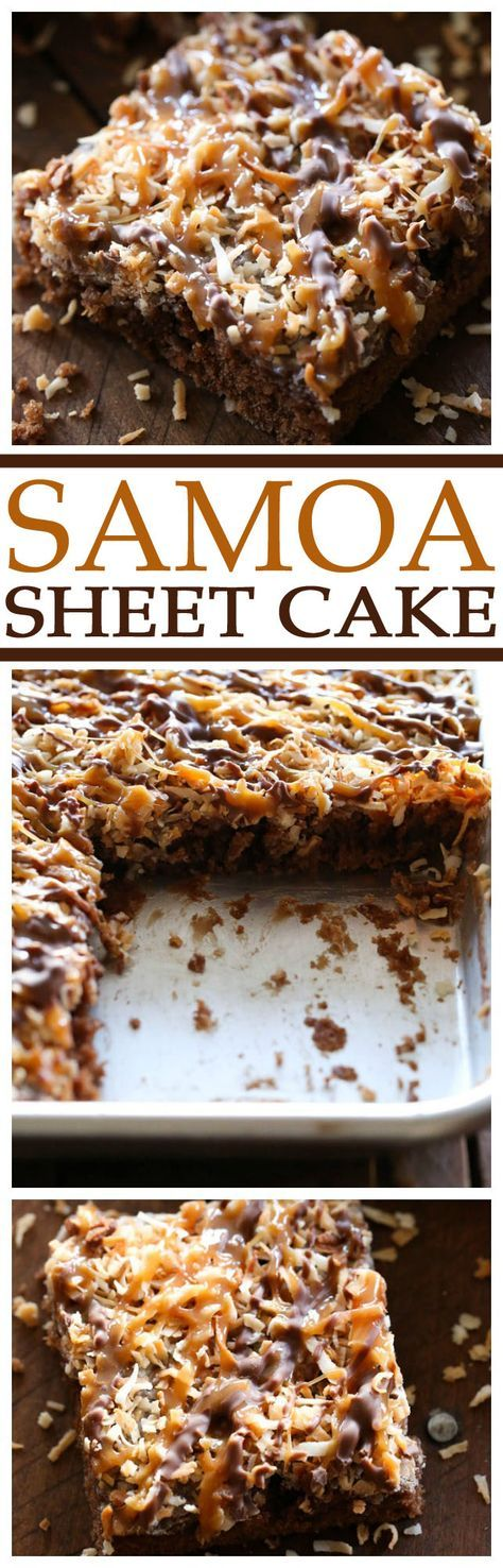 """Samoa Sheet Cake Recipe via Chef in Training ... this has been deemed one of """"Chef in Training""""'s Top 5 favorite recipes on her blog! It is one of the best desserts you will ever taste! The Best EASY Sheet Cakes Recipes - Simple and Quick Party Crowds Desserts for Holidays, Special Occasions and Family Celebrations"""