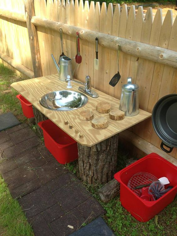 mud pie kitchen at natural learning community children s school natural playscape playgrounds on outdoor kitchen natural id=49707