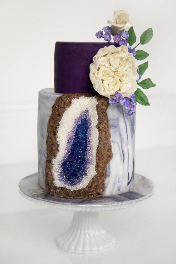 Amethyst Geode Cake by Charlotte: