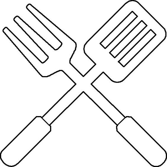 free bbq utensil template or coloring page  coloring