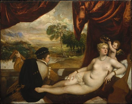 Titian  (Italian, ca. 1485/90?–1576) and Workshop. Venus and the Lute Player, ca. 1565–70. The Metropolitan Museum of Art, New York. Munsey Fund, 1936 (36.29) | Much has been written about the meaning of Titian's paintings of Venus. In addition to celebrating love and music (Venus pauses from making music to be crowned by Cupid), they have been thought to address the Neo-Platonic debate of seeing versus hearing as the primary means for perceiving beauty.: