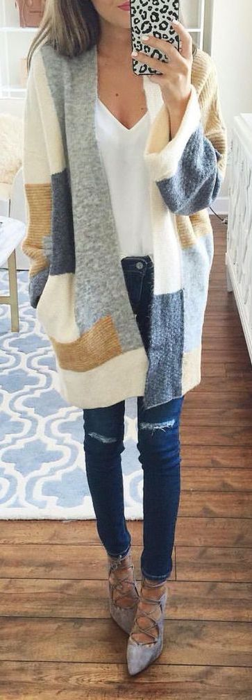 Adorable wool patchwork long cardigan with skinnies, a white tee, & ankle boots---Fall's best workwear or casual warmth.: