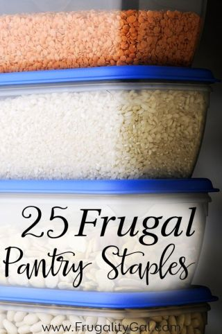 25 Kitchen and Pantry Staples to always have on hand. By keeping these frugal foods on hand, you'll be able to make a variety of frugal meals and always have an inexpensive base of ingredients to use when creating your meal plan!: