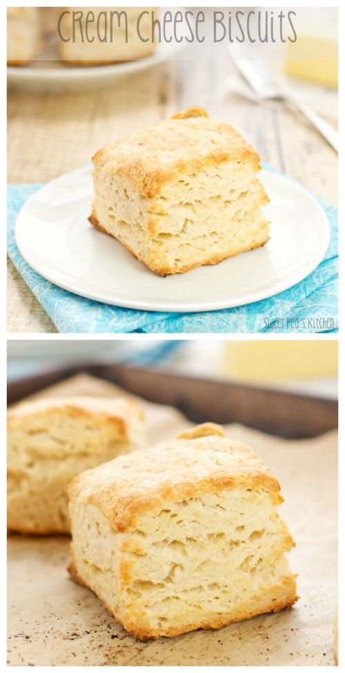 """Cream Cheese Biscuits…melt in your mouth deliciousness!"" Cream Cheese Biscuits Recipe via Sweet Pea's Kitchen - The Best Homemade Biscuits Recipes - Quick, Easy and Delicious Bread Sides for Breakfast, Brunch, Lunch and Family Dinner!"