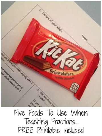 Five great foods to introduce fractions and equivalent fractions. Free printable included.: