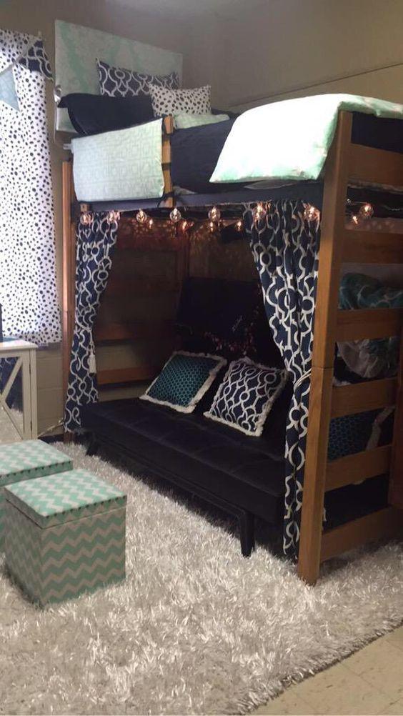 D 233 Cor 2 Ur Door Dorm Bedding Navy And Mint Lofted Bed