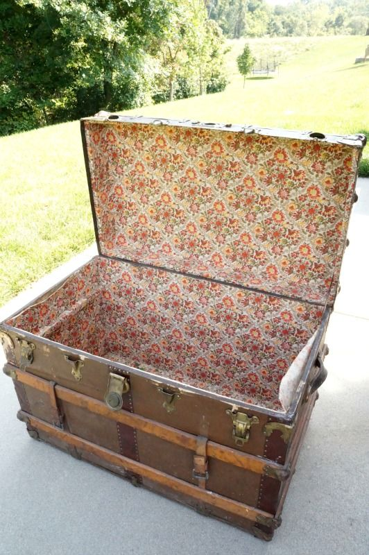 No Sew Fabric Lining For A Vintage Trunk Vintage Trunks