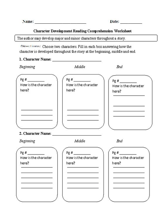 Character Development Reading Comprehension Worksheet
