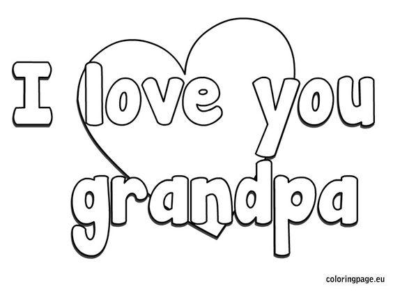 i love you grandpa coloring page  grandparent's day