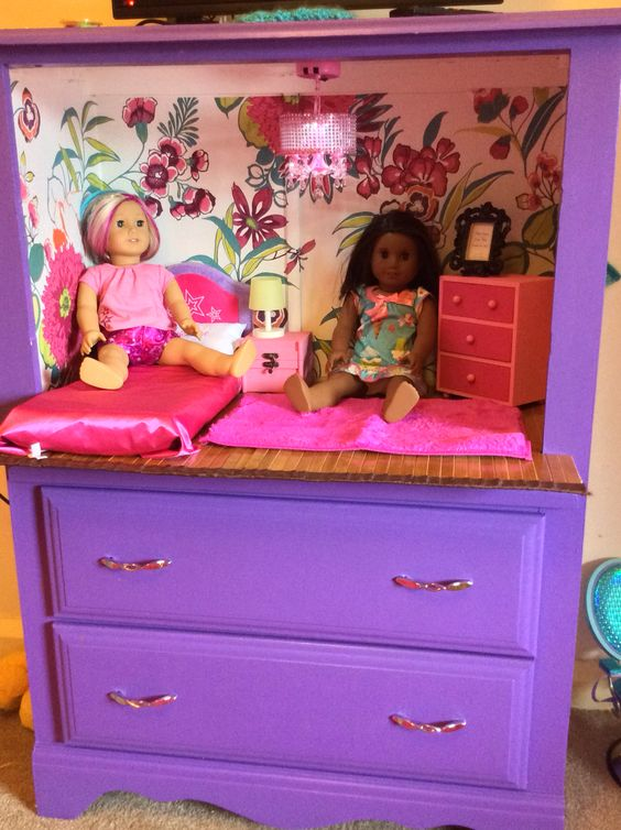 "Old dresser up cycled into perfect doll room with storage underneath. Perfect for American girl dolls or other 18"" dolls:"